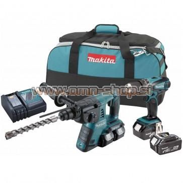 Makita DLX2069M akumulatorski set v torbi DHR263 + DHP456 + BL1840x3
