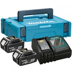 MAKITA SET BL1840x2, DC18RC Baterijski paket z polnilnikom v kovčku